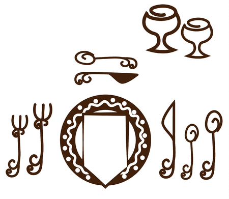 formal place setting: Informal Table setting placement. Artistic design tableware. Isolated on a white background.