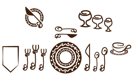 Formal Table setting placement. Artistic design tableware. Isolated on a white background. Vector