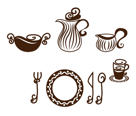 formal place setting: Table setting. Artistic design tableware. Isolated on a white background. Illustration