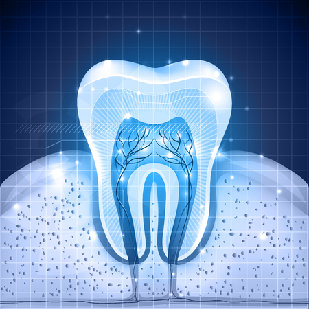 Beautiful blue tooth cross section. Detailed anatomy, abstract design with lights.