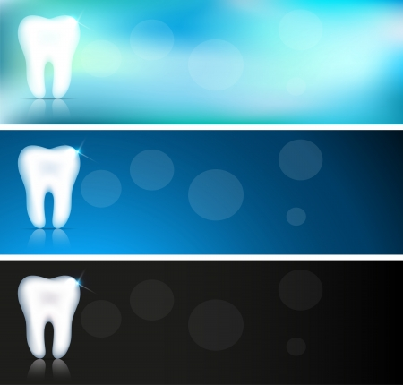 White tooth banners, three color variations, beautiful clean designs. Vector