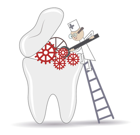 stomatologist: Abstract Tooth treatment procedure, dental conceptual illustration