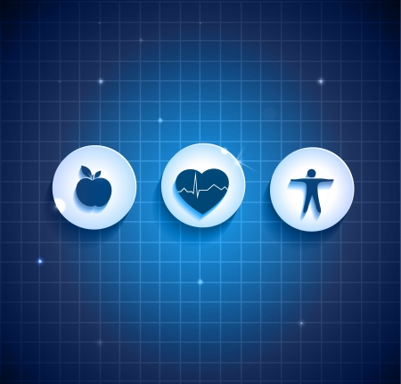 Heart health care concept symbols. Healthy food and fitness leads to healthy heart. Deep blue color background. Vector