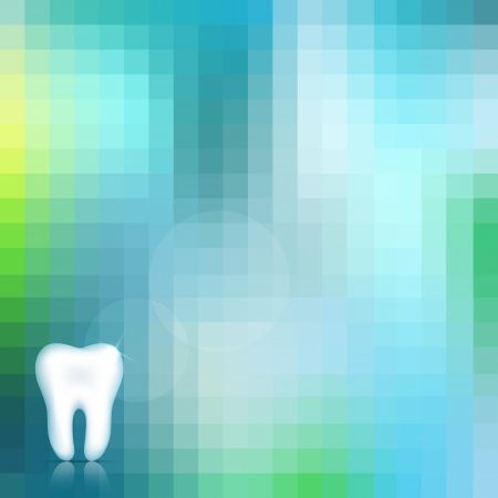 Healthy white tooth and beautiful blue background.  Vector