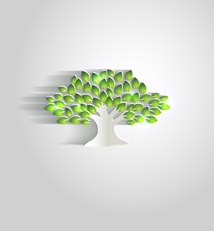 foliage tree: Beautiful white paper tree with shadow and green leafs, simple design Illustration