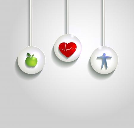 infarctus: Les soins de sant� concept illustration. Symboles de bien-�tre, coeur sain, une alimentation saine et de fitness. Une vie saine conduit � la sant� du coeur.