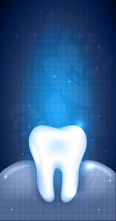 x ray: Healthy white tooth and gums illustration, abstract blue dental design