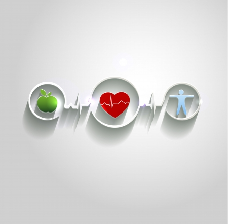 heart disease: Cardiovascular disease treatment concept.  Healthy food and fitness leads to healthy heart and life. Symbols connected with heart rate monitoring line. Beautiful bright design. Illustration