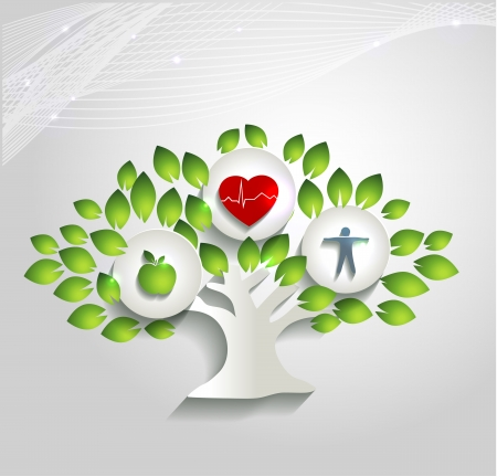 Healthy human concept. Tree with health care symbols.  Healthy food and fitness leads to healthy heart and life. Beautiful bright design. Vector