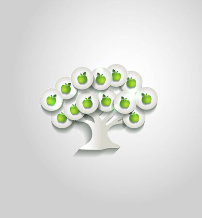 Beautiful white paper tree with apples, simple design Vector