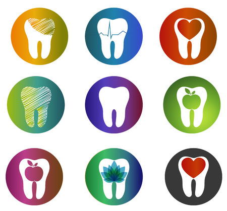 Huge collection beautiful dental symbols. Various bright colors and designs. Tooth health care concept symbols, teeth treatment and care. Illustration