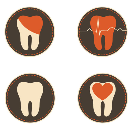 Dental symbols collection, beautiful colorful designs. Medical icons. Ilustrace