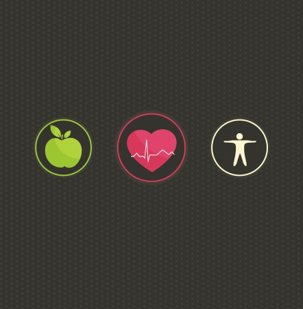 健康的なライフ スタイルの概念図。暗いドット背景に設定カラフルなシンボルです。健康食品、フィットネス健康な心と生活に します。