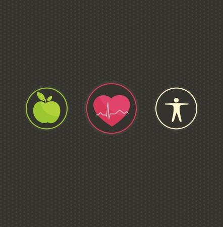 alimentacion sana: Ilustraci�n sana estilo de vida concepto. S�mbolo colorido fijado sobre un fondo oscuro puntos. La comida sana y fitness conduce al coraz�n ya la vida sana.