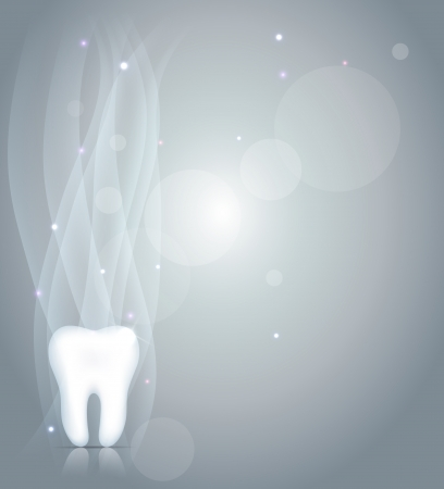 oral cavity: Sparkling Dentistry background with healthy white tooth, light grey background and light shades
