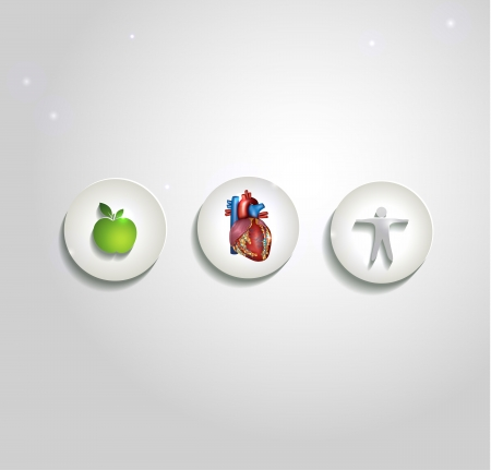 Human heart and health care symbols, cardiology icons. Healthy living leads to healthy heart. Vector