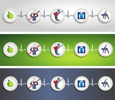 Concept de vie en bonne santé symbole bannières Illustration