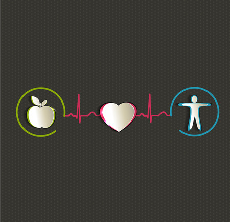 Healthy food and fitness leads to healthy heart and life Vector