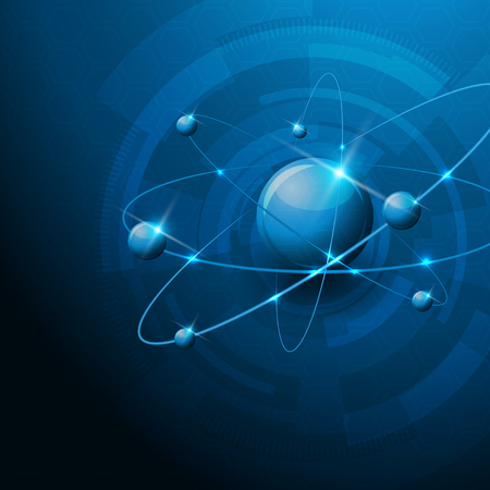 Molecules abstract illustration, abstract blue technology background Vector
