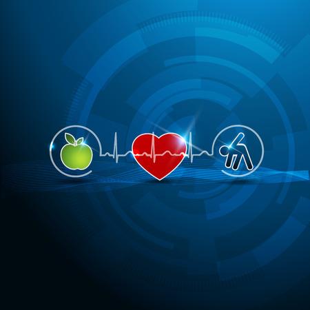 infarctus: Symboles de cardiologie lumineux, le concept de mode de vie sain