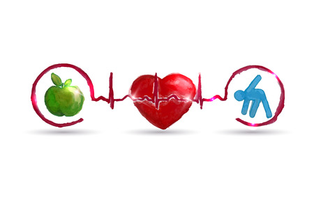 ekg: Watercolor Cardiology health care symbols connected with heart beat rhythm  Healthy living concept  Healthy food and fitness leads to healthy heart and life