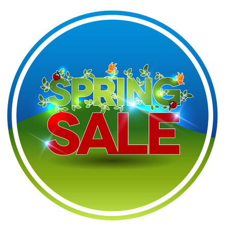 Round shape spring sale symbol, beautiful nature, blue sky and fields at the background  Vector