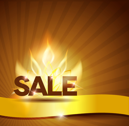 Hot sale poster, golden ribbon and fire  Vector