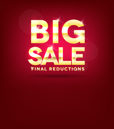 Big sale poster, beautiful bright red and golden design Vector