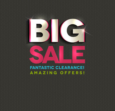 Big sale poster, cut out letters, beautiful bright colors and dark dots background Vector
