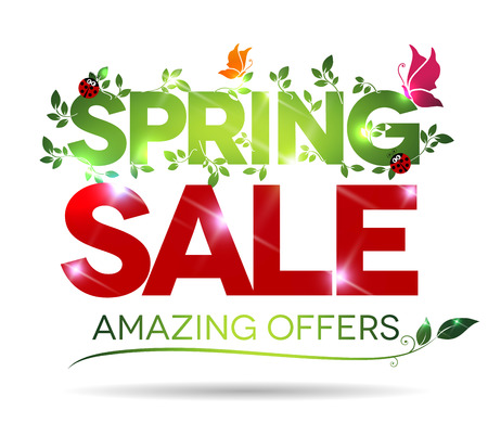 봄 판매, 놀라운 흰색 배경에 메시지를 제공합니다