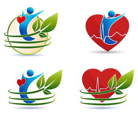 Human health care symbols, healthy heart concept  Human silhouette, leaves and heart  Vector