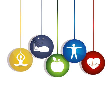 dieta saludable: Manera saludable de Meditaion vida, buen sueño, la alimentación sana y fitness conduce a corazón y de la vida Maneras saludables para mantener un corazón sano Vectores