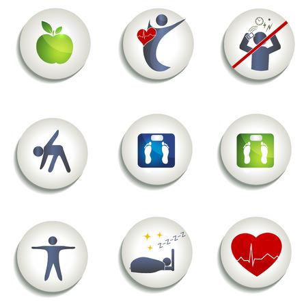 Poids normal, une alimentation saine et d'autres icônes symboles de vie saine Une alimentation saine, remise en forme, pas de stress et de poids sain conduit à c?ur et la vie saine Illustration