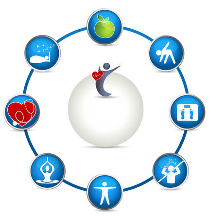 Bright Health care circle  Healthy person is one who sleeps well, eats healthy food, makes exercises, good sleep, have normal weight, do not stress, visits the doctor for checkup  Vector