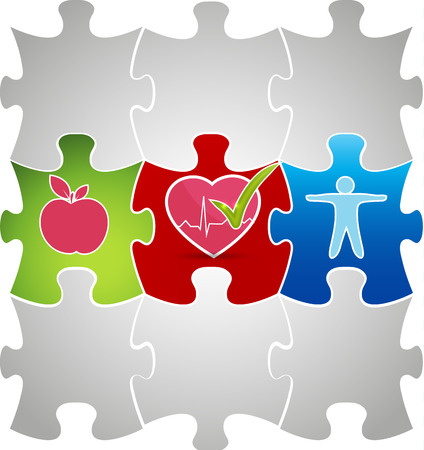 Healthy living puzzle concept  Healthy food and fitness leads to healthy heart  Vector