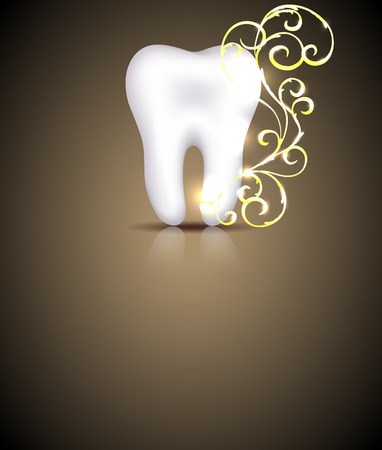 Elegant dental design with golden swirls element Illustration