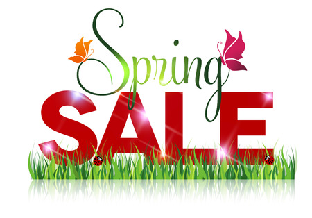 Seasonal sale offer message. Spring sale and grass with beautiful reflection on a white background. Vector