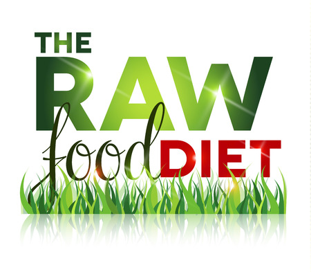 raw food: Raw food diet text with grass and reflection, isolated on white. Illustration