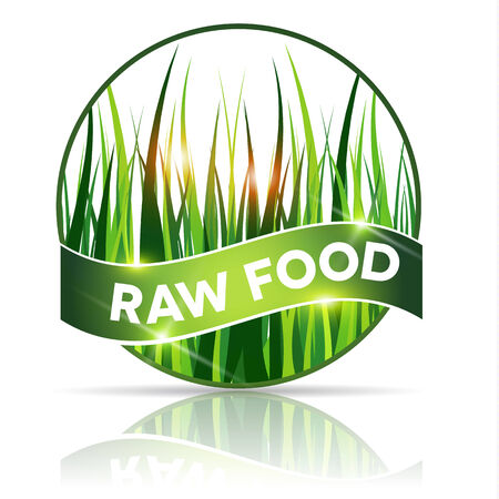 raw food: Round Raw food icon, beautiful grass illustration in round shape