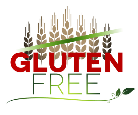Gluten free message and wheat at the top  Gluten free diet sign  Vector