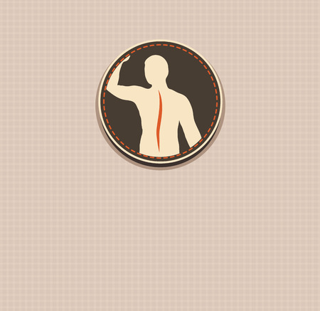 Human back, vertebral column health care vintage design  Vector