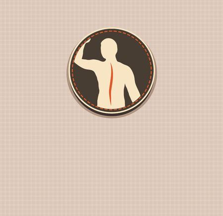 Human back, vertebral column health care vintage design  Illustration