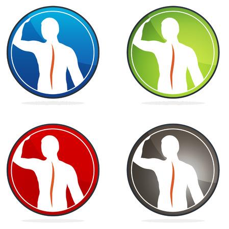 zuilen: Menselijke wervelkolom gezondheid teken collectie, kleurrijke ontwerpen