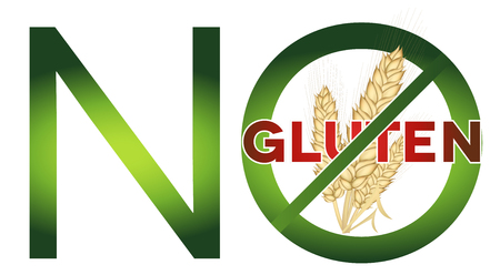 sprue: Gluten free diet message. Green and red colors, bright design.