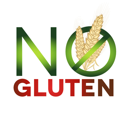 sprue: Gluten free sign, health care diet. Green and red colors, bright design.
