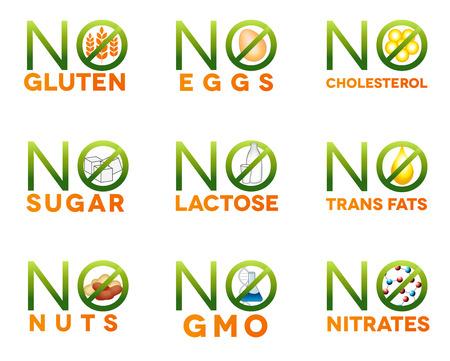 icônes d'intolérance alimentaire