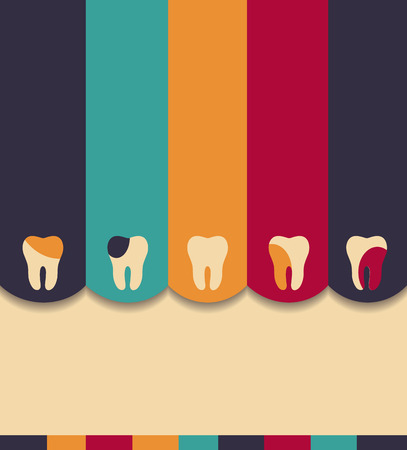 dental caries: Colorful dental design layout. Beautiful colorful illustration.
