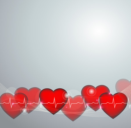 abstract heart illustration and normal cardiogram on a grey background with light shades.