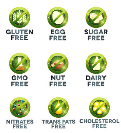 food allergy: Food diet icon collection set
