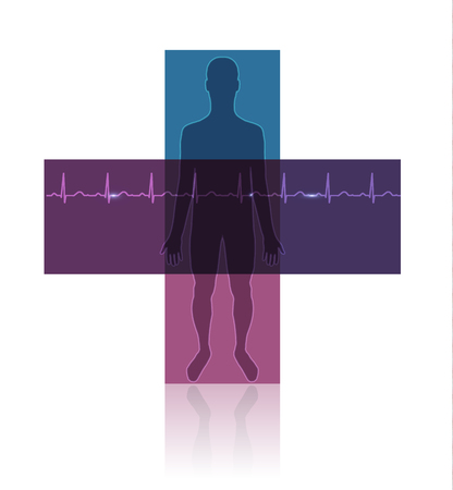 Human silhouette in the cross shape, normal sinus heart rhythm. Beautiful colorful health care icon with reflection. Vector